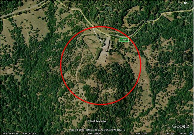 Vista general de la zona. El Marrufo. Google Earth