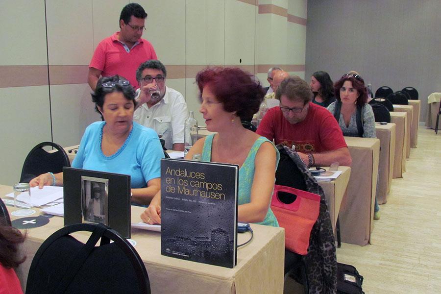 Representantes de Afresama y Foro por la Memoria del Campo de Gibraltar, en la reunión con miembros de la ONU
